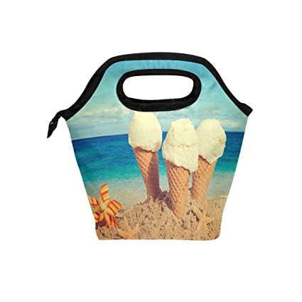 Amazon djrow vanilla ice cream in the beach sand insulated easy djrow vanilla ice cream in the beach sand insulated easy zip lock resealable lunch bag for ccuart Images