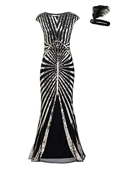 24fa6b9640 Formal Evening Dress 1920s Sequin Mermaid Maxi Long Flapper Gown Party   Amazon.ca  Clothing   Accessories