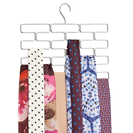 mDesign Juego de 2 Perchas para pañuelos – Colgador de pañuelos, chales, Bufandas y fulares con 18 Compartimentos – Organizador de Accesorios para ...