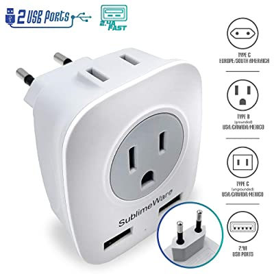 European Power Adapter w/ 2 USB Ports & 2 AC Outlets - USA to EU Outlet Plug - US to Europe Plug Adapter - Electrical Charger Travel Adapters for Europe from US Japan China by SublimeWare: Electronics