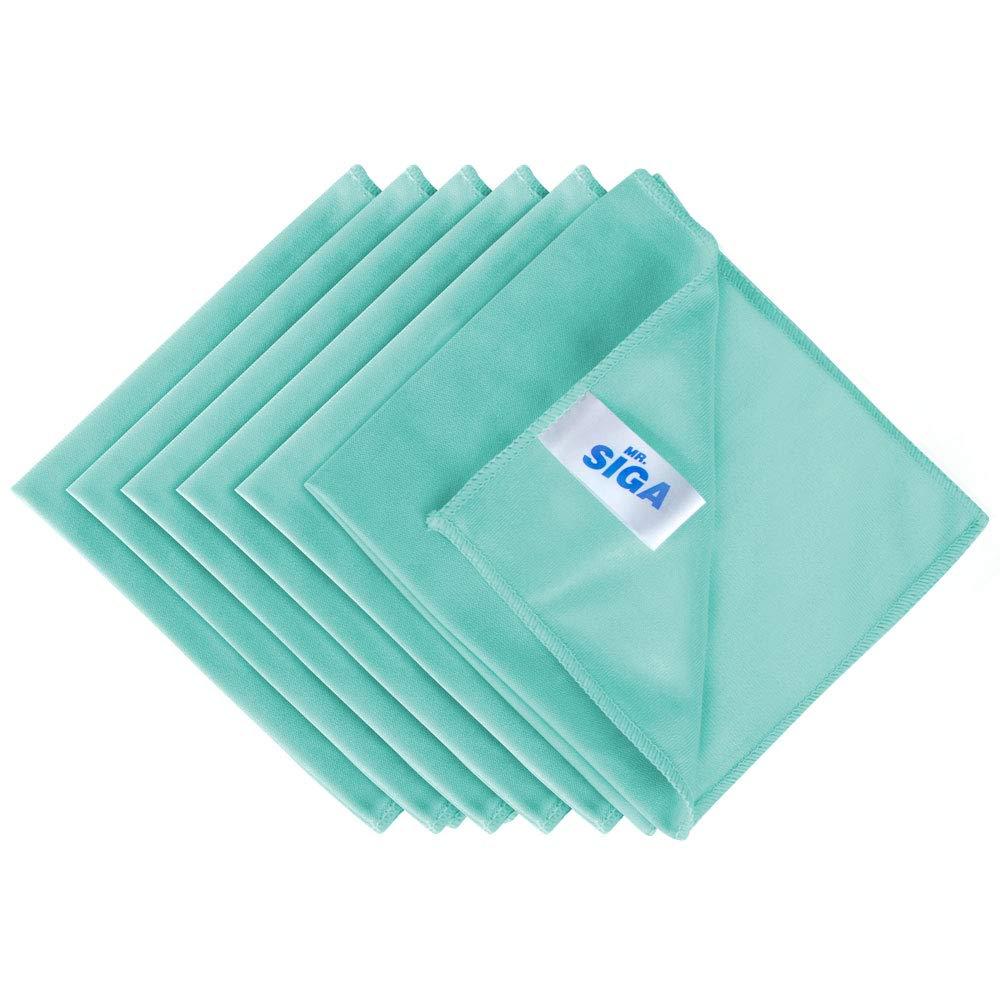 "MR.SIGA Ultra Fine Microfiber Cloths for Glass, Pack of 6, 35 x 40 cm 13.7"" x 15.7"""