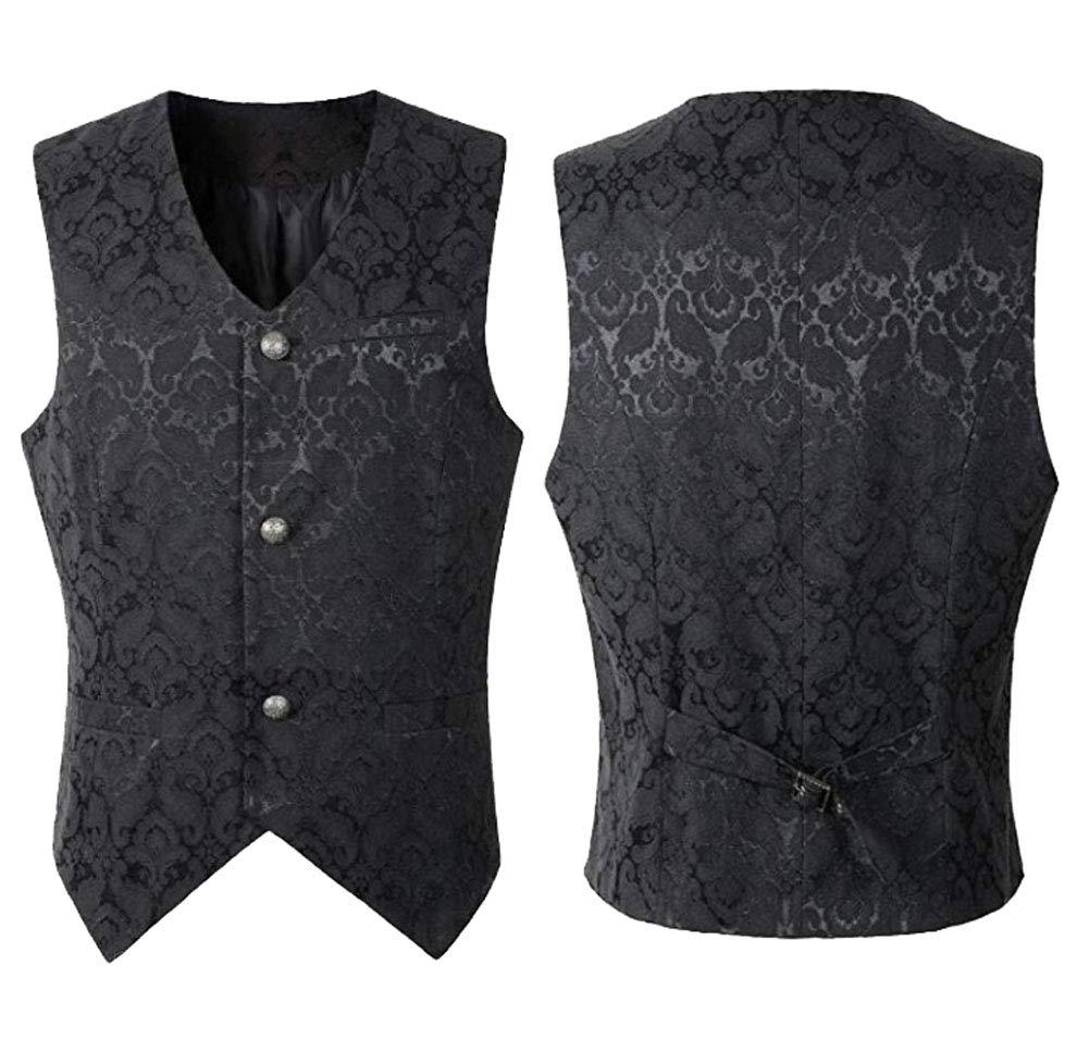 Nobility Baby Men's VTG Brocade Gothic Steampunk Tuxedo Vest Waistcoat 3
