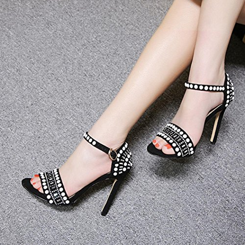 High Black Shoes Heels Summer Fheaven Sandals Roman Strap Womans Sandals Buckle Dress TzAxZ