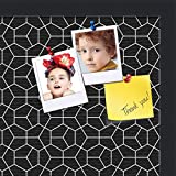 PinPix custom printed pin cork bulletin board made from canvas, Modeco Hex White Black 18x12 Inches (Completed Size) and framed in Satin Black (PinPix-Group-82)