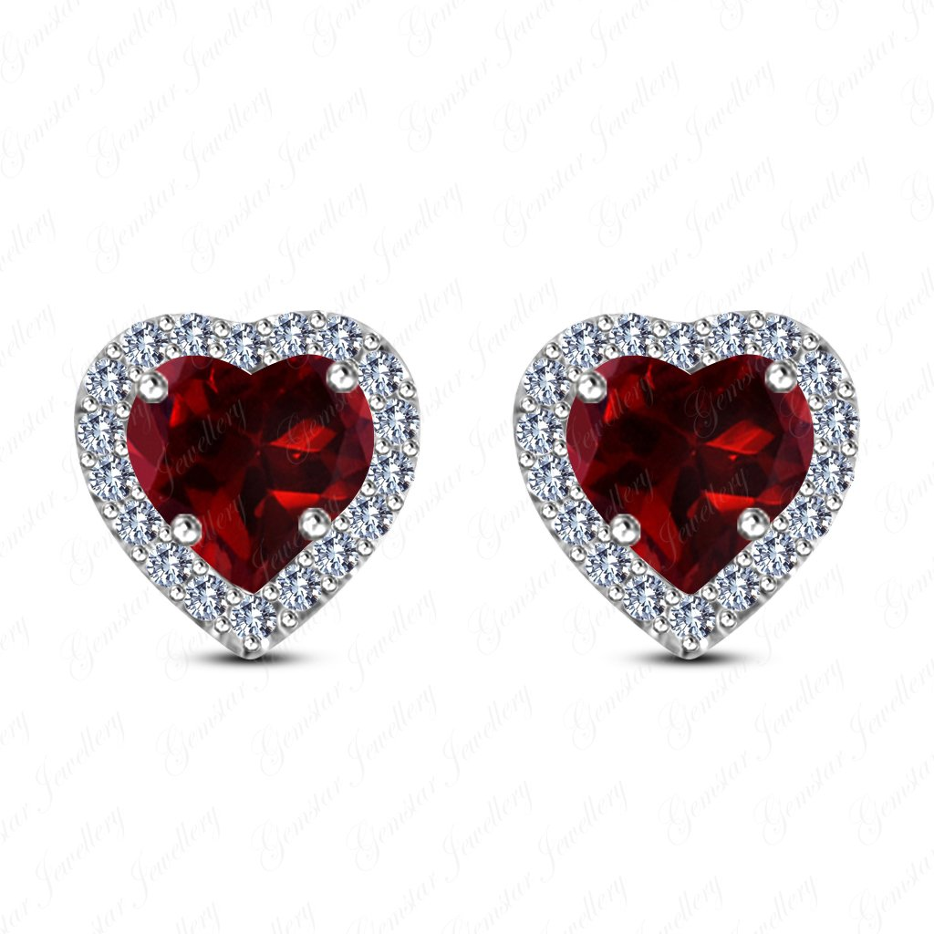 Gemstar Jewellery 18K White /& Yellow Gold Finish Heart Cut Red Garnet Screwback Halo Stud Earrings