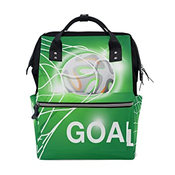 0d9872827d Amazon.com   FOLPPLY Green Soccer Ball Diaper Bags Mummy Tote Bags Large  Capacity Multi-Function Backpack for Travel   Baby