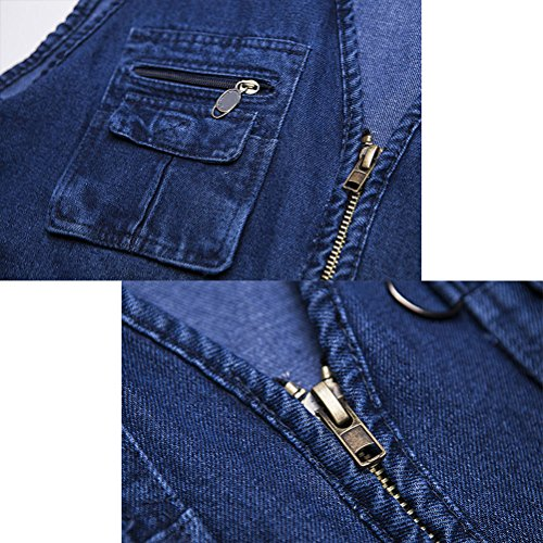 Mens Gift Vest Waistcoat Denim Father's Fishing Working Multipocket Blue Zhhlaixing Buena Outdoor Day tela for 4waxvSqHE