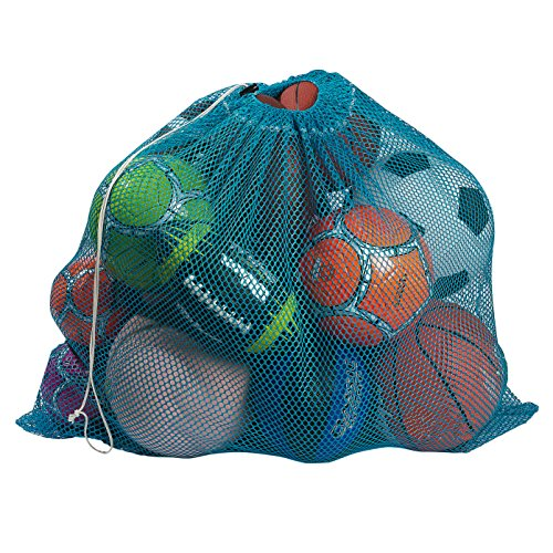 "Mesh Equipment Bag, Turquoise - 32"" x 36"" - Adjustable, sliding drawstring cord closure. Perfect mesh bag for parent or coach, making it easy to transport and keeping your sporting gear organized. - Nylon Dog Balls"