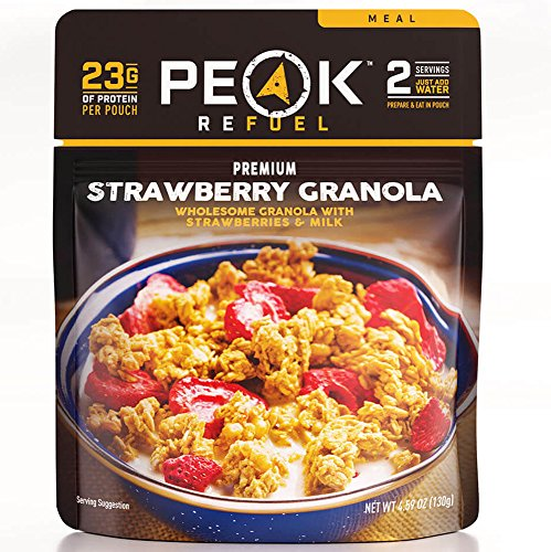 Peak Refuel Strawberry Granola | 2 Serving Pouch | Freeze Dried Backpacking and Camping Food | Amazing Taste | Quick Prep