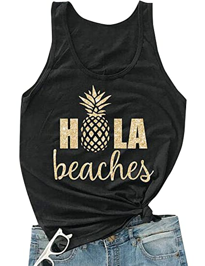 e5bd9174ab9d0 Pineapple Shirts Funny Graphic Tanks Sleeveless Tees for Women at Amazon  Women s Clothing store