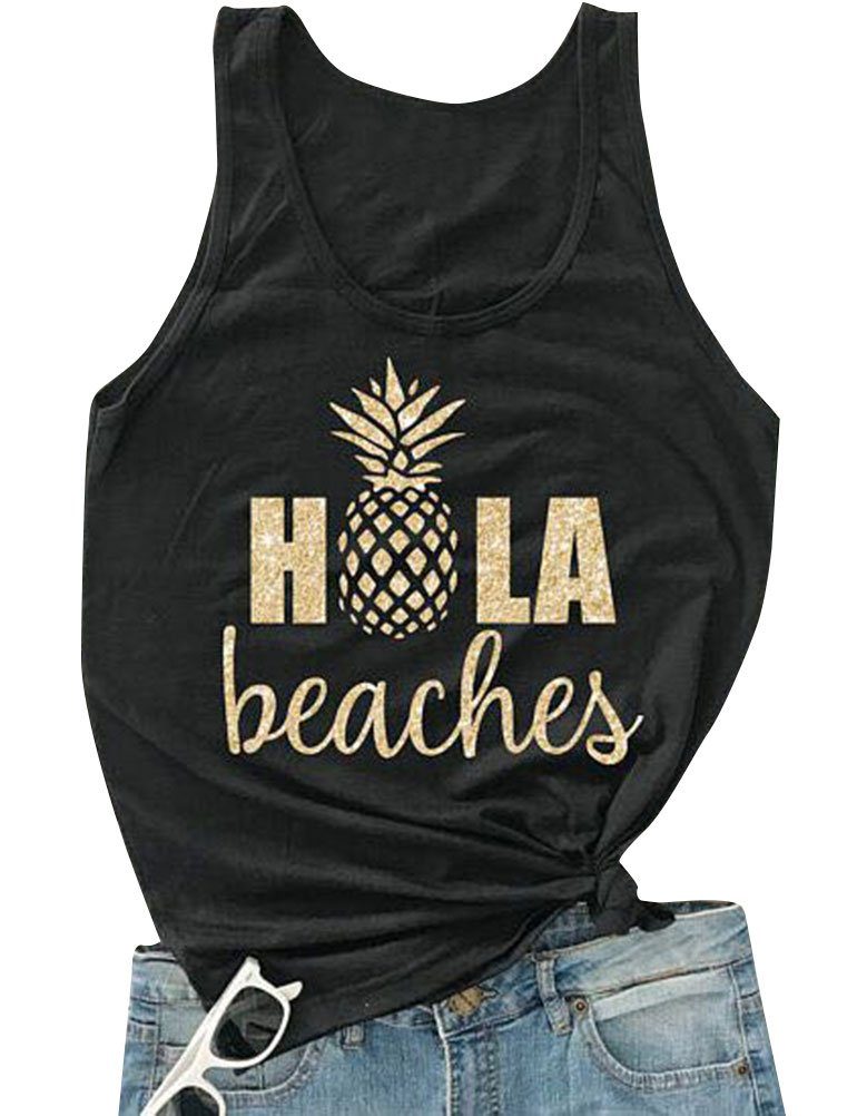 ZJP Women Casual Hola Beaches Letter Print Tanks Shirt Pineapple Print Tops Tee