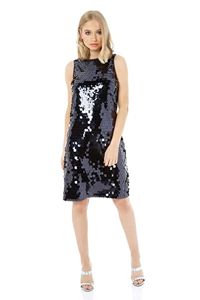 c0a4fc46285 Roman Originals Women Sequin Shift Dress - Ladies Christmas Party Evening  Sequined Embellished Evening Special Occasion Zip Up Round Neck Knee Length  ...