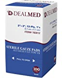 """Dealmed Sterile Gauze Pads, Individually Wrapped Absorbent 2"""" x 2"""", 100/Box"""