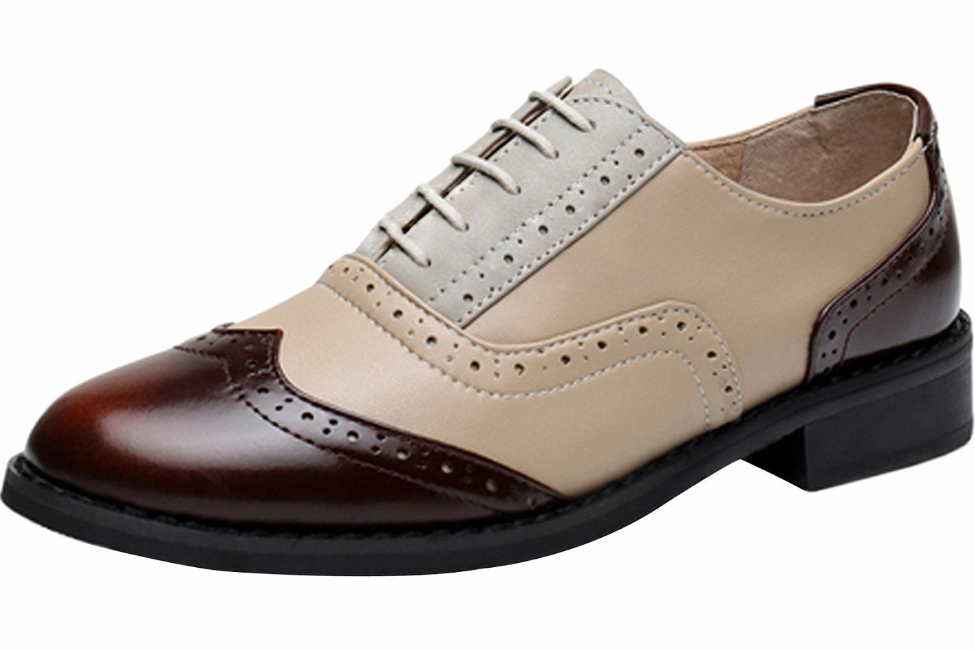 LaRosa Women's Handmade Assorted Colors Carved Wingtip Lace-up Leather Brogues Flat Oxford Shoes,Brown Beige Grey,7.5 B(M)