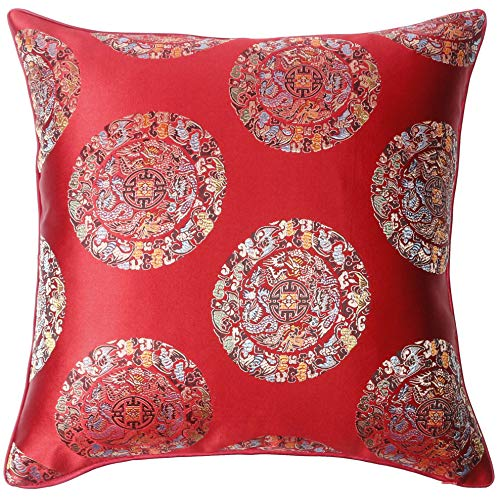 BOBO WELL Throw Pillow Covers Decorative Cushion Covers 18×18 inch Square Embroidery Cushion Cases for Couch Bed 2 Pcs (Red)
