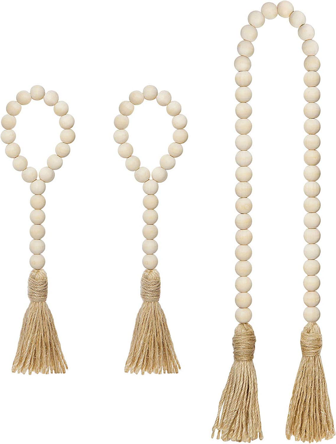 Mkono Wooden Beads Garland with Tassels 3 Pcs Prayer Beads Farmhouse Rustic Wood Bead String Wall Hanging Decor for Baby Nursery Room, Wedding Vase Ornament, Ivory