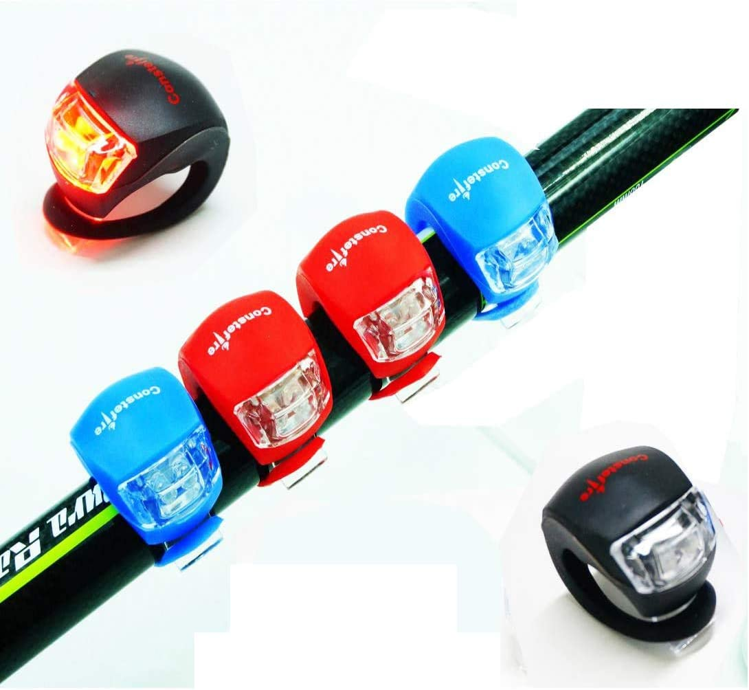 2 LED SILICONE CLIP MOUNTAIN CYCLING FRONT REAR RED WHITE WATERPROOF BIKE LIGHTS