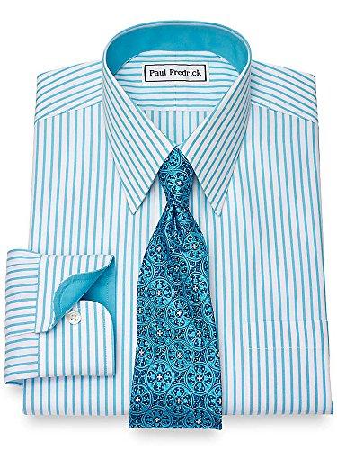 Paul Fredrick Men's Non-Iron Cotton Bengal Stripe Dress Shirt Aqua 16.0/34 (Paul Fredrick Bengal Stripe Dress Shirt)