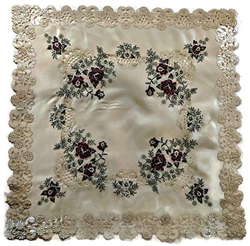 (Doily Boutique Tablecloth or Table Topper Square with a Red Burgundy Rose on Ivory Fabric, Size 34 inches)