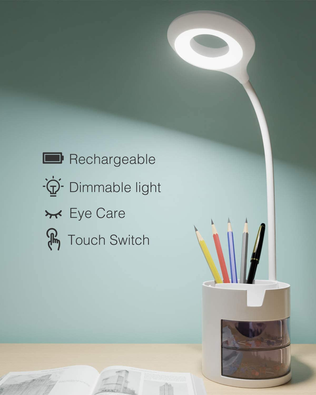 Lámpara Escritorio LED, Hepside Lámpara de Mesa con Portalápices 3Niveles de Brillo Flexo LED Escritorio de Protección Ocular Control Táctil y Rotación de 360° para Estudiar, Lectura, Hogar y Trabajo