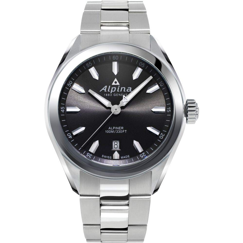 Image of Alpina Men's Alpiner Swiss Quartz Sport Watch with Stainless Steel Strap, Silver, 21 (Model: AL-240GS4E6B) Sport Watches