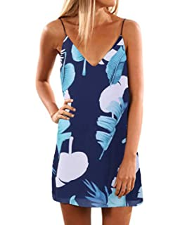 06ce60acd4d92 ACHIOOWA Mujer Vestido Tirantes Floral Impreso Sin Manga Camisola Escote  Falda Cuello V Espalda Descubierta Elegante