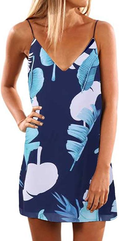 ACHIOOWA Mujer Vestido Tirantes Floral Impreso Sin Manga Camisola ...