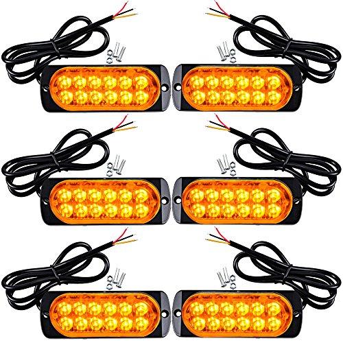 6pcs Super Thin 12-LED 36W Amber Warning Hazard Construction Flashing Strobe Light Bar Car SUV Truck