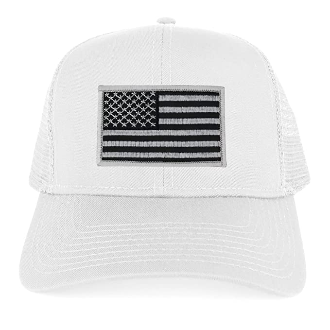 3a5bbc6adf5ed USA American Flag Embroidered Patch Snapback Mesh Trucker Cap - WHITE - BLACK  GREY