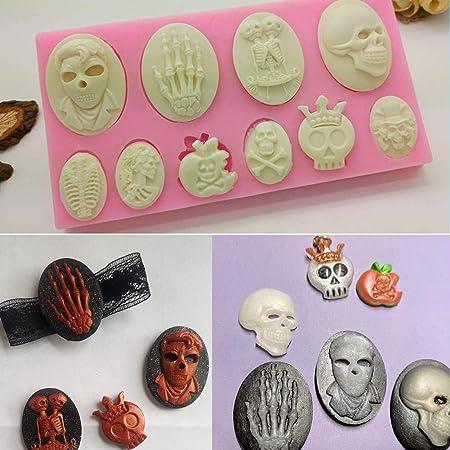 SUNSK Silikon Fondant Kuchen Formen 3D Halloween Totenkopf Skelett Silikonform Schokoladenformen DIY Kuchen S/ü/ßigkeiten Gelee Backformen 3 St/ück