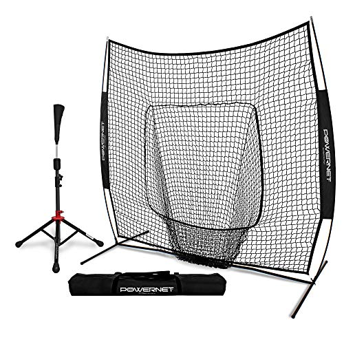 PowerNet Baseball Softball Practice Net 7x7 with Deluxe Tee...
