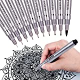 Precision Micro-Line Pens, Fineliner,Multiliner,Waterproof Archival ink, Artist Illustration,Anime,Sketching,Technical Drawing,Office Documents&Scrapbooking,Comic Manga Pens Writing,10/Set (Black)