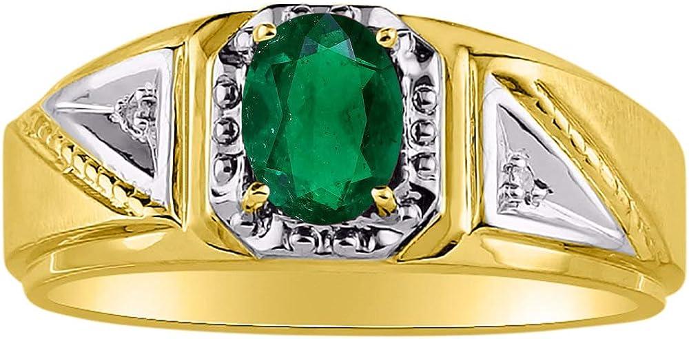 May Birthstone RYLOS Simply Elegant Beautiful Green Emerald /& Diamond Ring