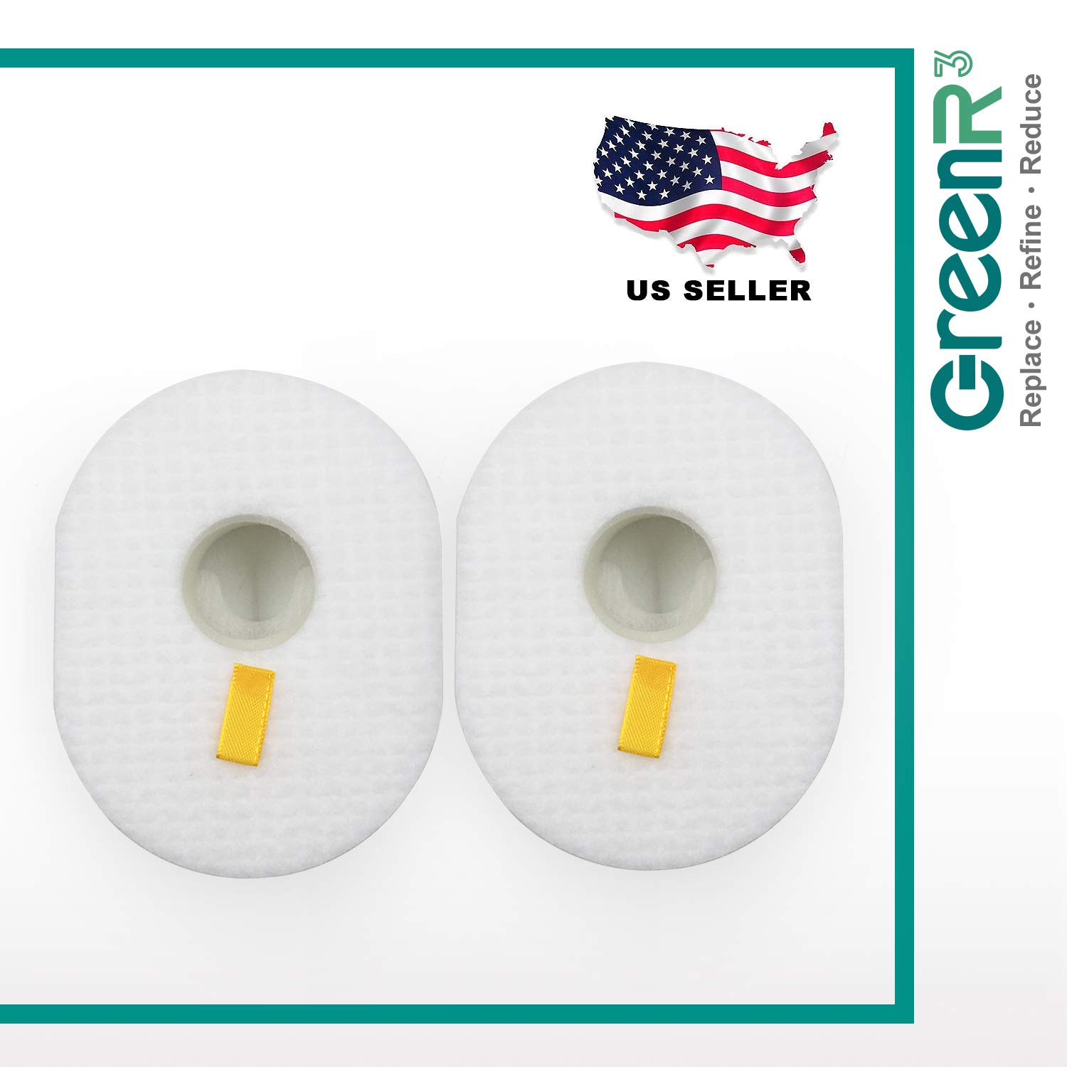 GreenR3 2-Pack Replacement Foam Air Filters for Shark XFF350 Fits Shark HV300 XFFV300 HV301 HV302 HV305 HV310 HV450 Vacuum Cleaners and More SHARK XFF350 Foam Filter