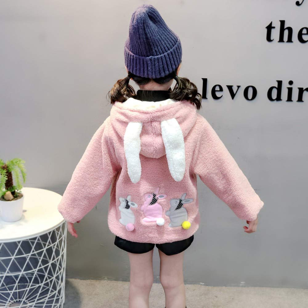 FeiliandaJJ Baby M/ädchen Mit Kapuze Fleece Jacke S/äugling Kinder Winter Cute Kaninchenohr Zipper Dicke Warme Coat Mantel Outerwear