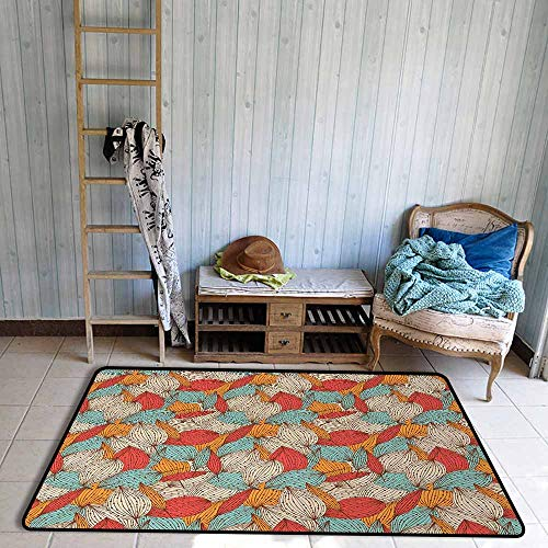 Room Bedroom Floor Rug Autumn Doodle Art Style Mix of Leaf Motifs in Retro Colors Romantic Autumn Season Theme Personality W55 xL72 Multicolor