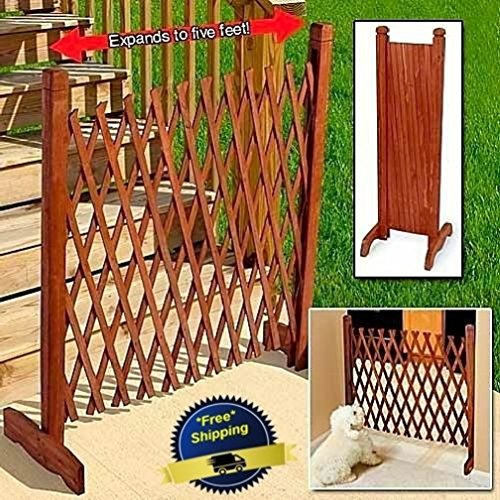 Price comparison product image Expanding Portable Fence Wooden Screen Gate Kid Safety Dog Pet Patio Garden Lawn