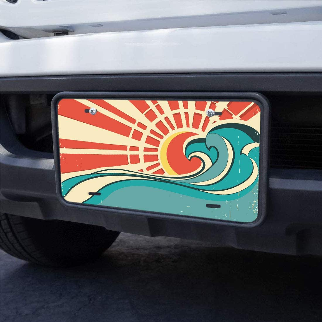 WONDERTIFY License Plate Colorado Tree Flag White Stripe Line Flag Decorative Car Front License Plate,Vanity Tag,Metal Car Plate,Aluminum Novelty License Plate for Men//Women//Boy//Girls Car,6 X 12 Inch