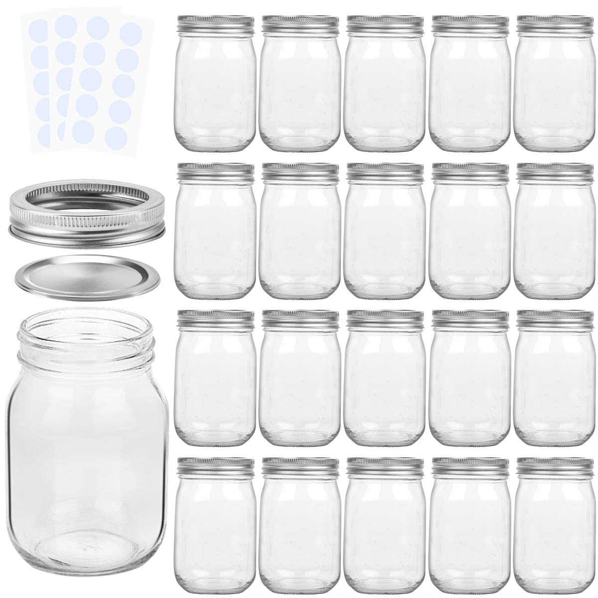KAMOTA Mason Jars 12OZ With Regular Lids and Bands, Ideal for Jam, Honey, Wedding Favors, Shower Favors, Baby Foods, DIY Magnetic Spice Jars, 20 PACK, 30 Whiteboard Labels Included