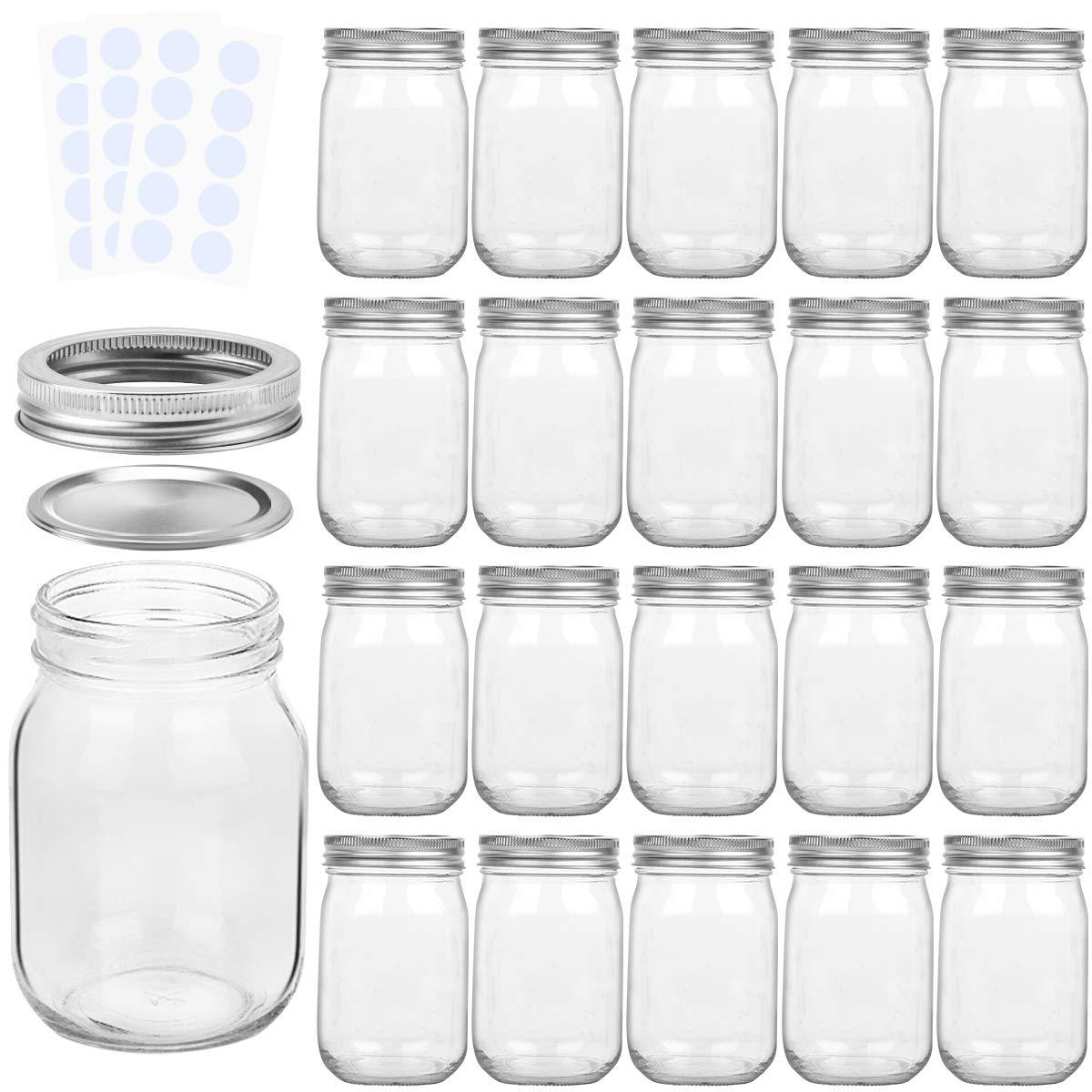 KAMOTA Mason Jars 12OZ With Regular Lids and Bands, Ideal for Jam, Honey, Wedding Favors, Shower Favors, Baby Foods, DIY Magnetic Spice Jars, 20 PACK, 30 Whiteboard Labels Included by KAMOTA (Image #1)