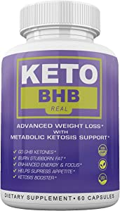 Keto BHB Real - Advanced Weight Loss wqth Metabolic Ketosis Support - 60 Capsules - 30 Day Supply