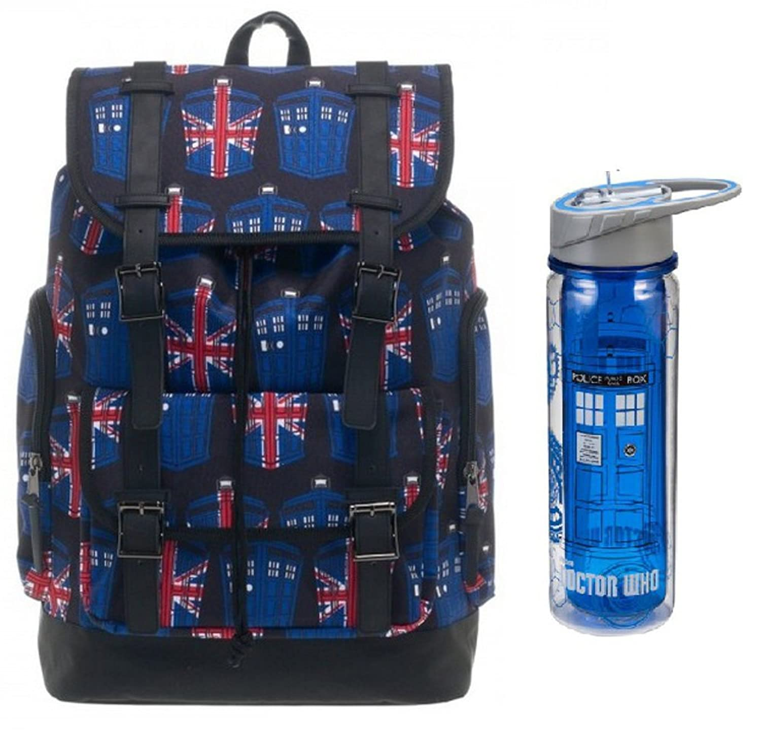 Doctor Who Unique Backpack and Water Bottle Bundle Set School Supplies