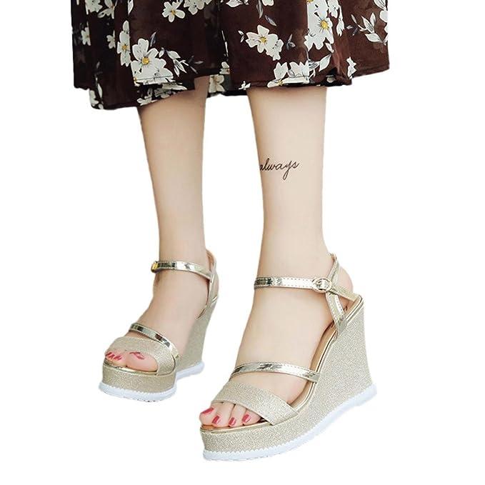 Calzado Chancletas Tacones Zapatos de Cuñas de Mujer Sandalias de Verano Zapatos de Tacón Alto con Plataform