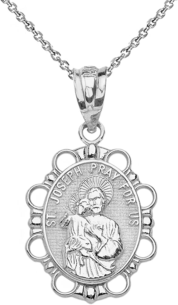 Sterling Silver St Andrew the Apostle Oval Necklace Pray For Us