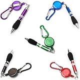 【ノーブランド品】ボールペン 多機能ペン カラビナ付き 携帯用 5本5色