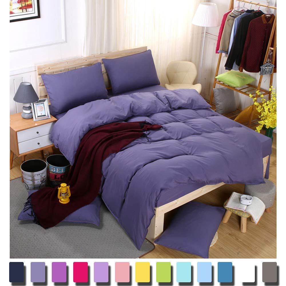 YAYIDAY Duvet Cover King Lavender 3 Pcs Set - Lightweight Brushed Microfiber Comforter Cover & Pillowcases Soft Quilt Case Zipper Closure Corner Ties Solid Purple Bedding (No Insert)