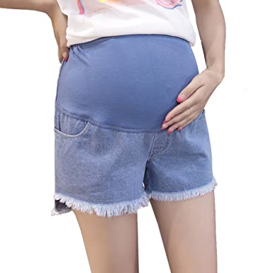 93bc092e2fcce Deofean Women's Maternity Ripped Tassel High-Waisted Jeans Shorts at ...