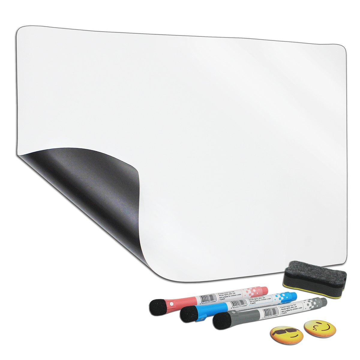 NEFBENLI A4 Soft Whiteboard 11.8''X 8.3'' Fridge Magnet Dry-Erase Board Flexible PET Film Magnetic Message Board Refrigerator Notes,Includes 1 Board, 2 Magnets, and 3 Marker,1 Eraser (A4:11.8''X 8.3'')