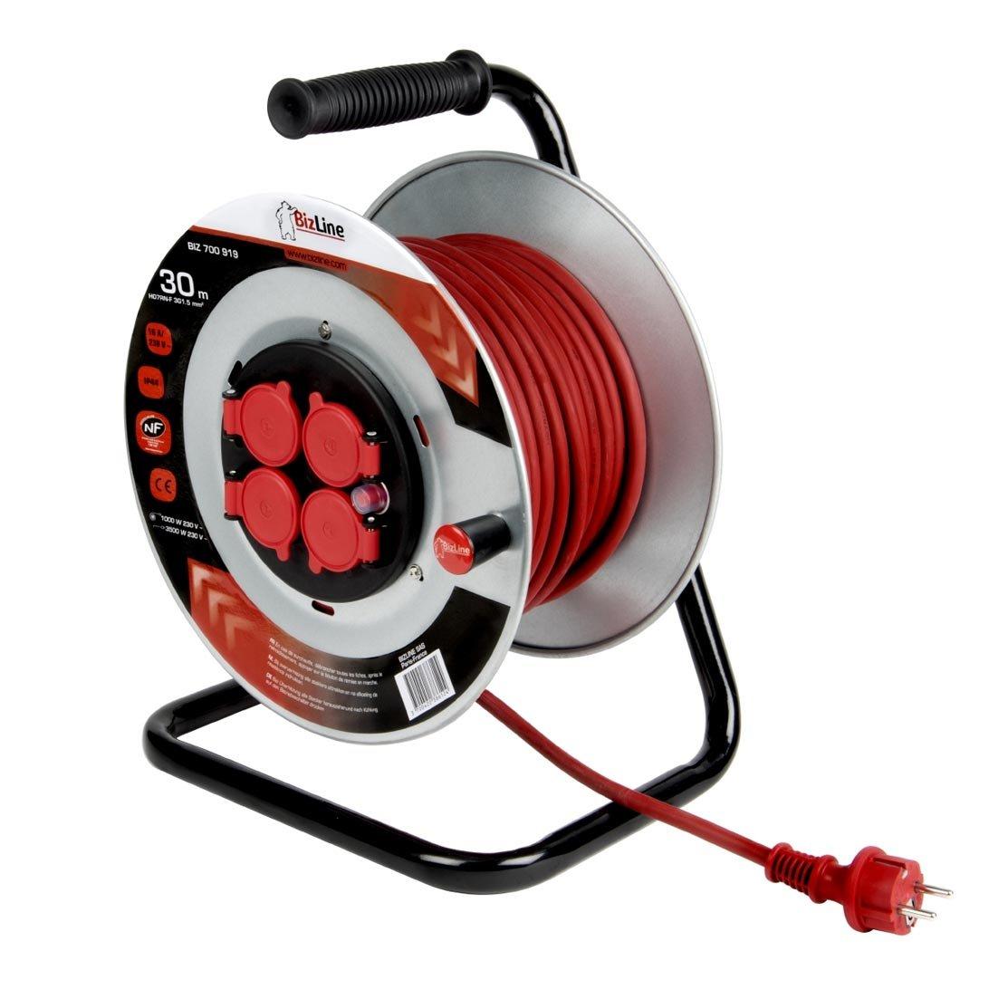 Avvolgicavo–30Metri–Fiaschetta metallico–Cable 3G1.5mm Bizline