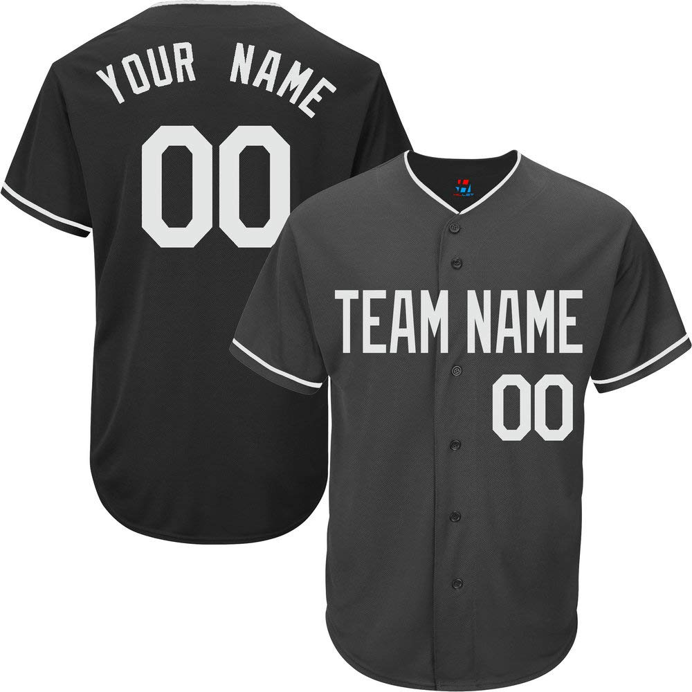 Black Customized Baseball Jersey for Men Full Button Mesh Embroidery Name & Numbers,Gray Size 3XL by Pullonsy
